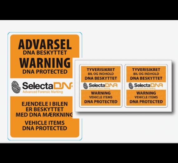 Komplet sæt sikringsmærker til en varebil